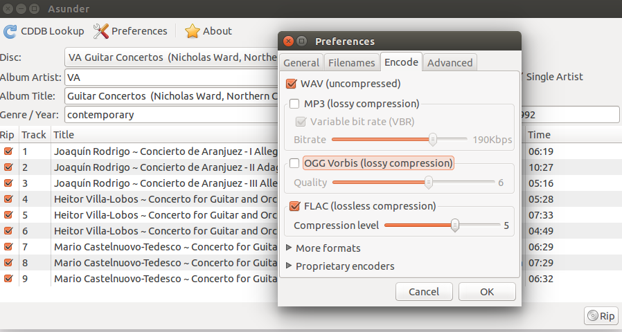 ripping a cd to flac